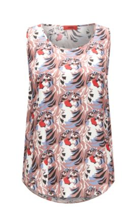 Seidiges Regular-Fit Top aus Material-Mix mit Katzen-Print, Gemustert