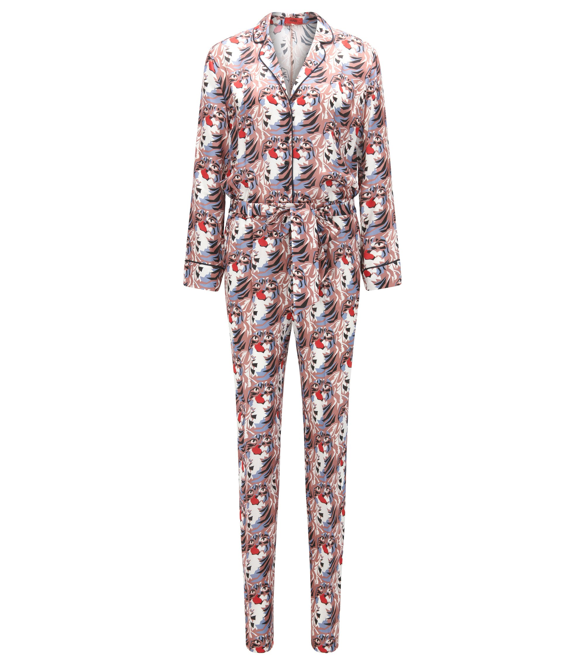 Relaxed-fit silky jumpsuit with cat print, Patterned