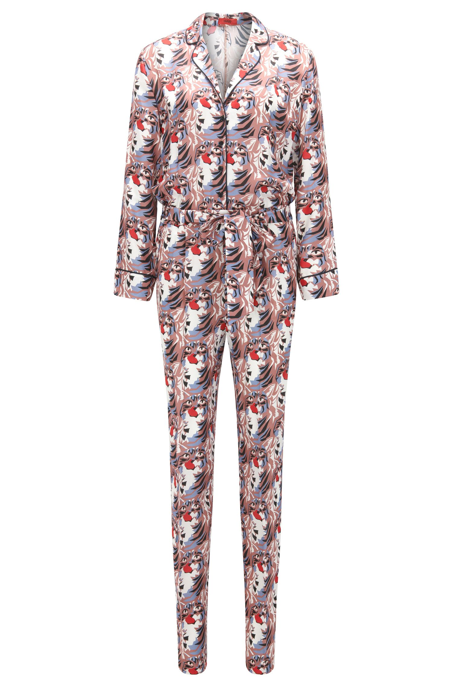 Relaxed-fit silky jumpsuit with cat print