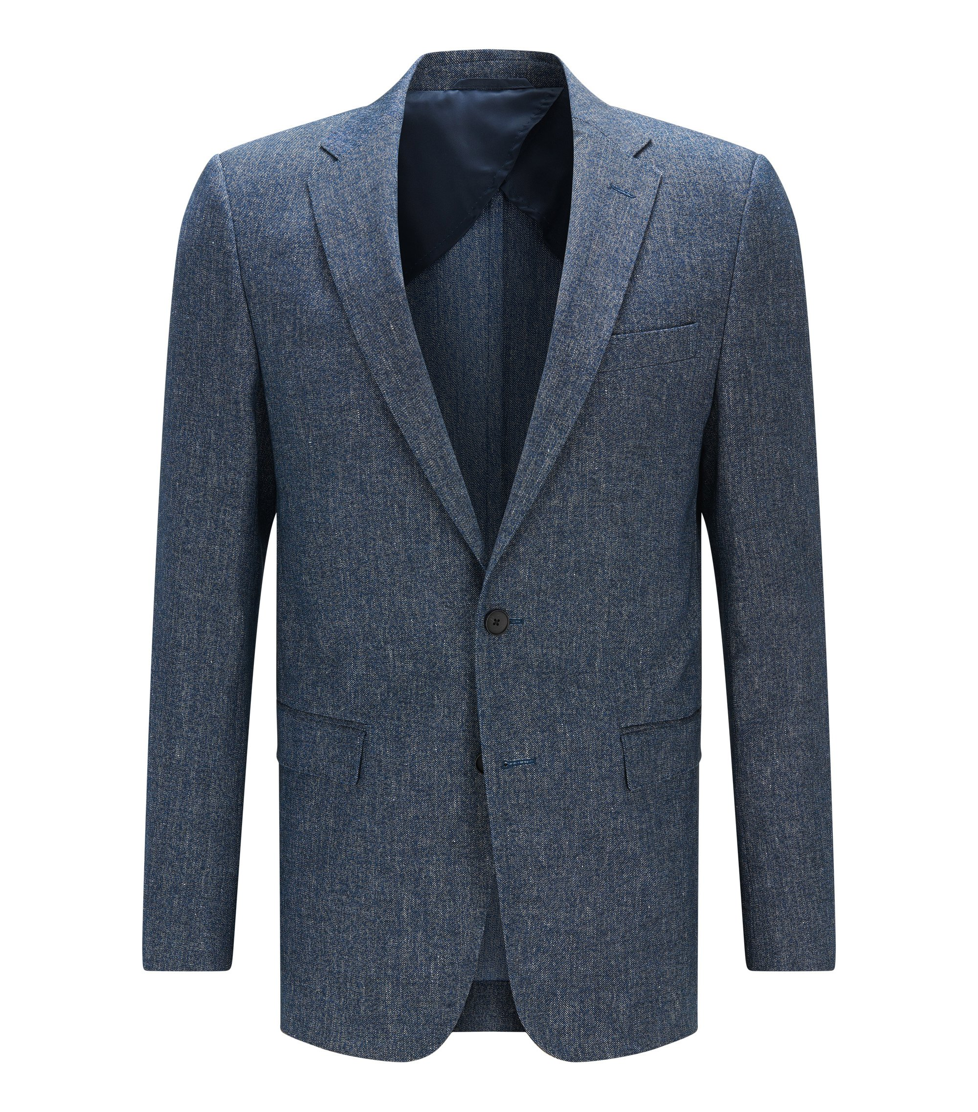 Slim-fit jacket in cotton and linen, Blue