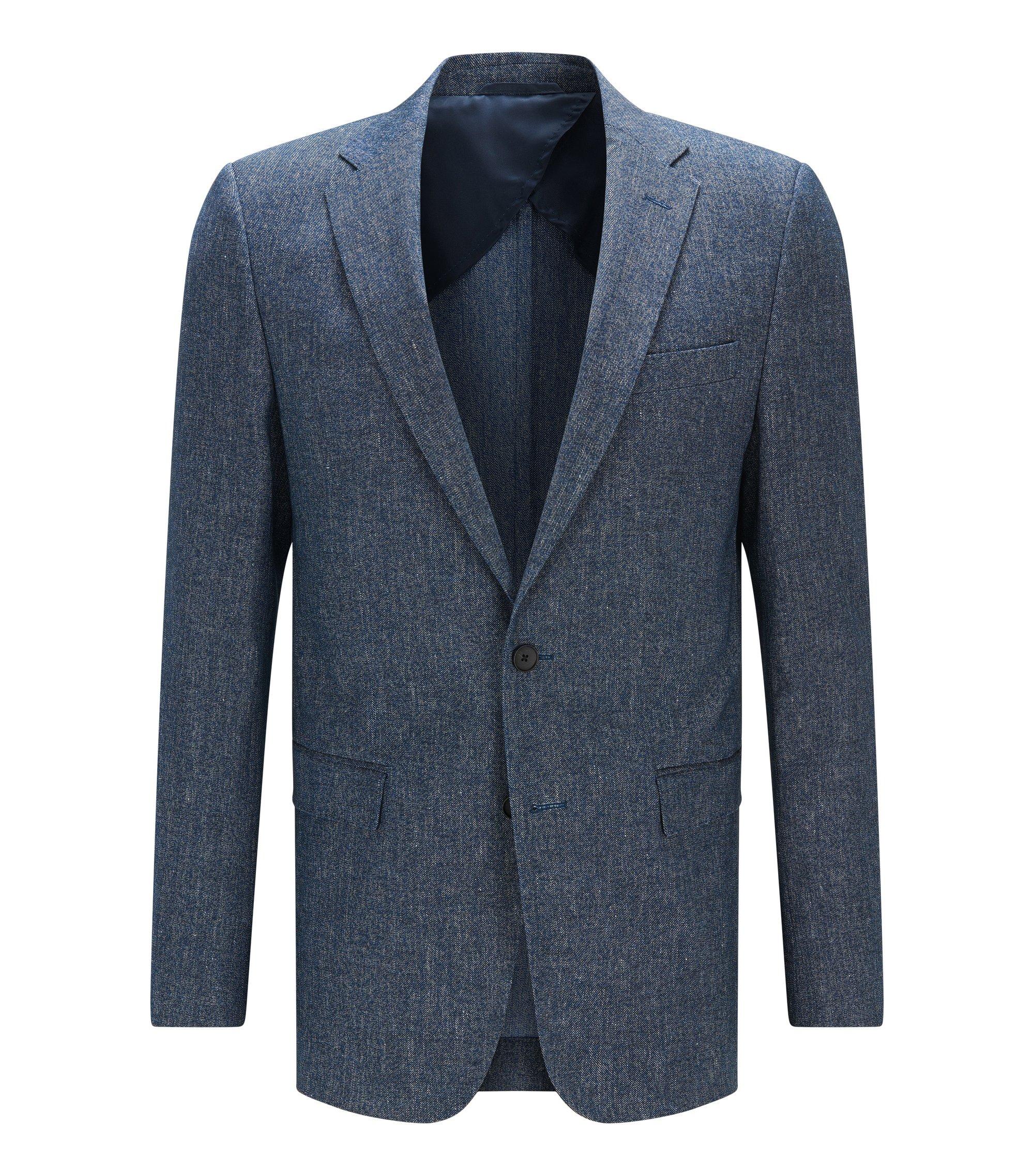 Americana slim fit en algodón y lino, Azul