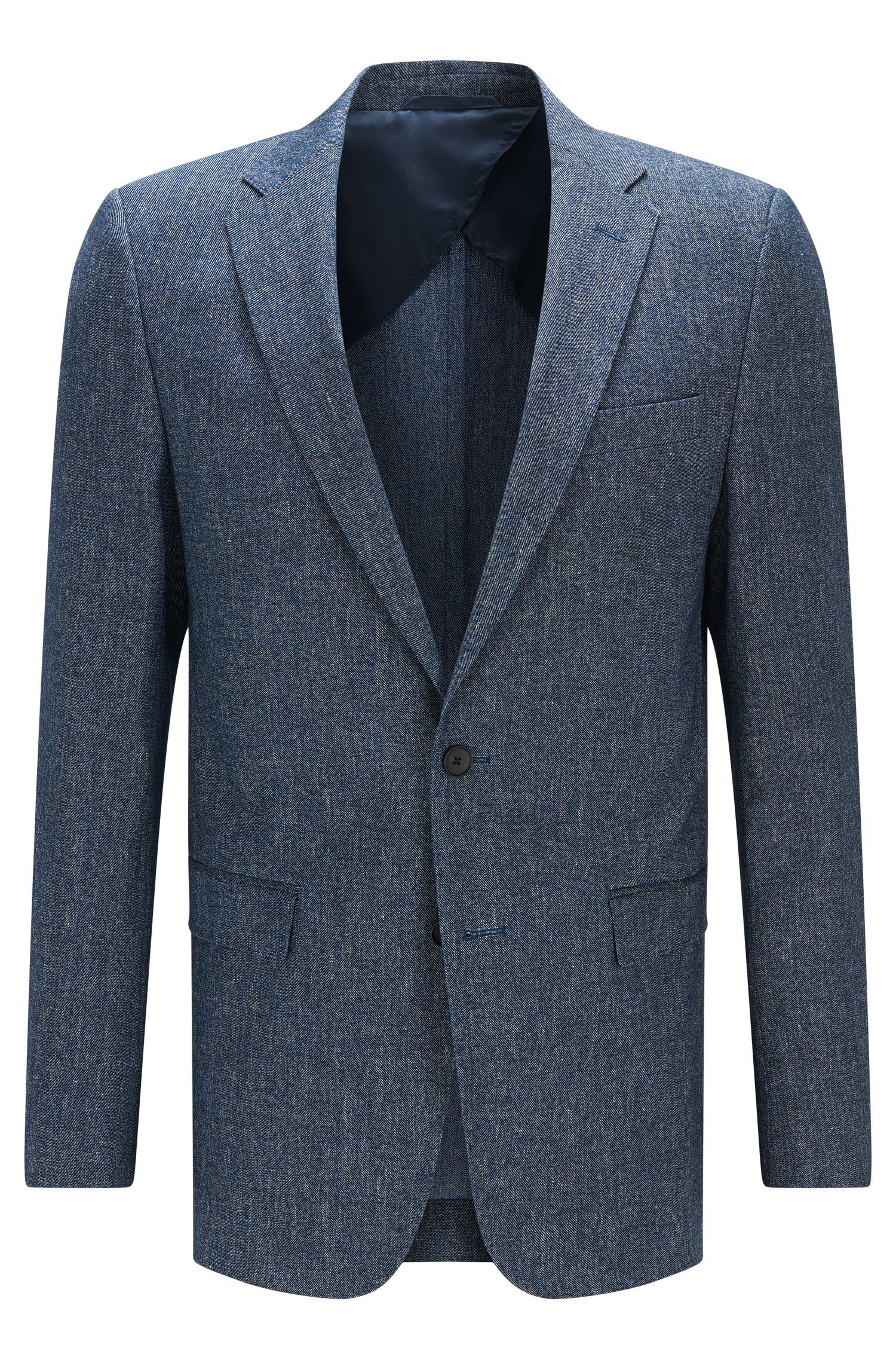 Slim-fit jacket in cotton and linen