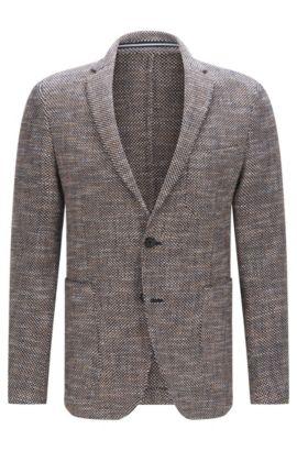 Slim-fit suit jacket in textured fabric, Dark Blue