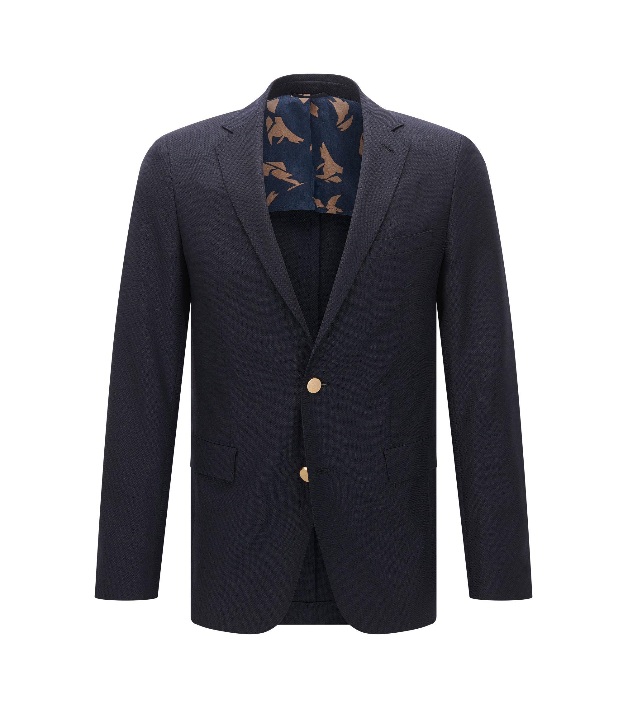 Giacca extra slim fit in lana vergine lavorata, Blu scuro