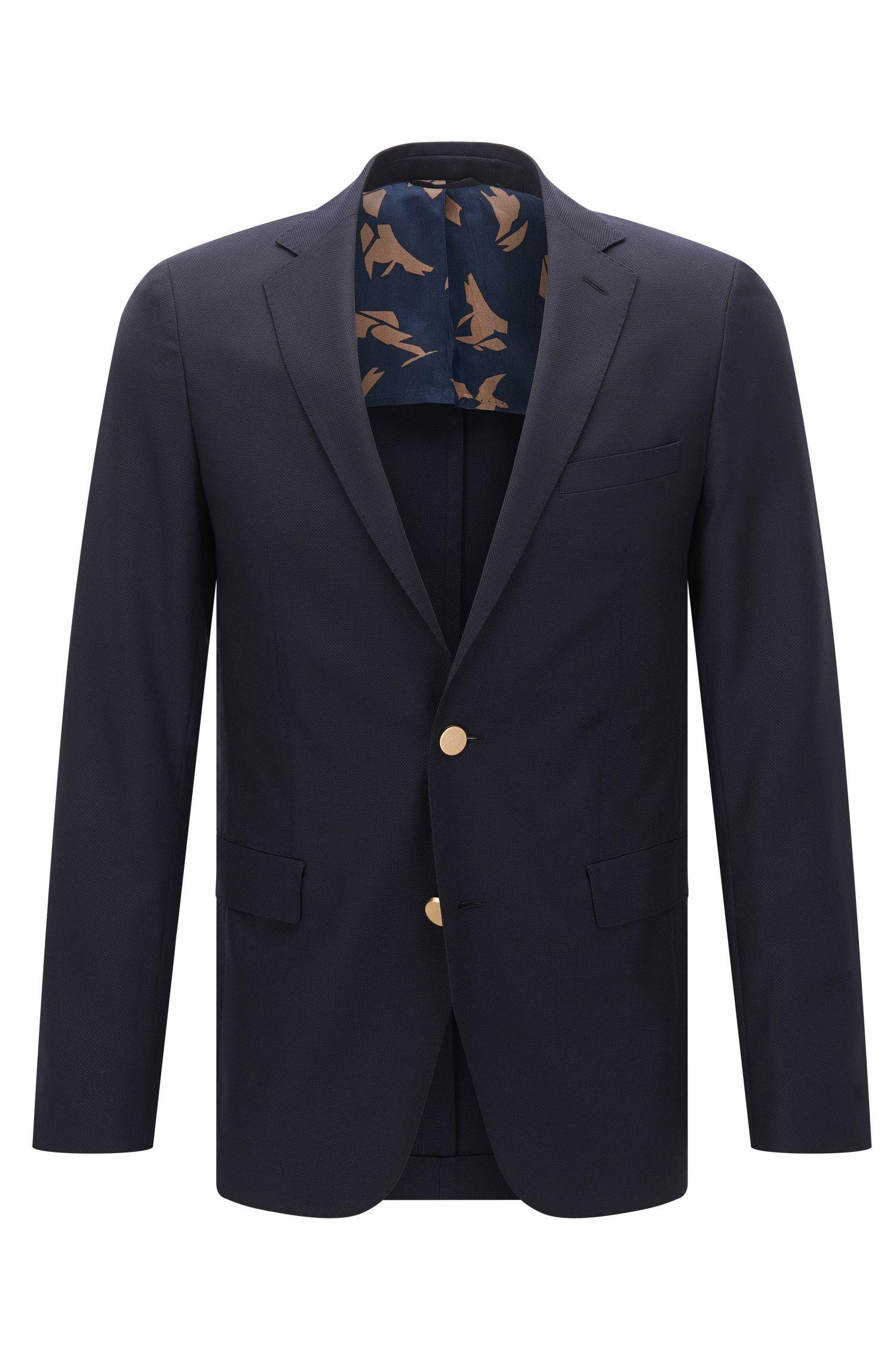 Extra-slim-fit jacket in textured virgin wool