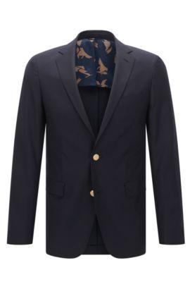 Extra-slim-fit jacket in textured virgin wool, Dark Blue