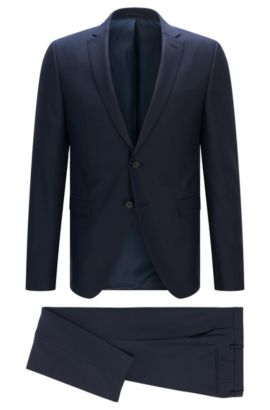 Extra-slim-fit suit in structured wool mix, Dark Blue
