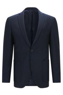 Extra slim-fit colbert van wol en mohair, Donkerblauw