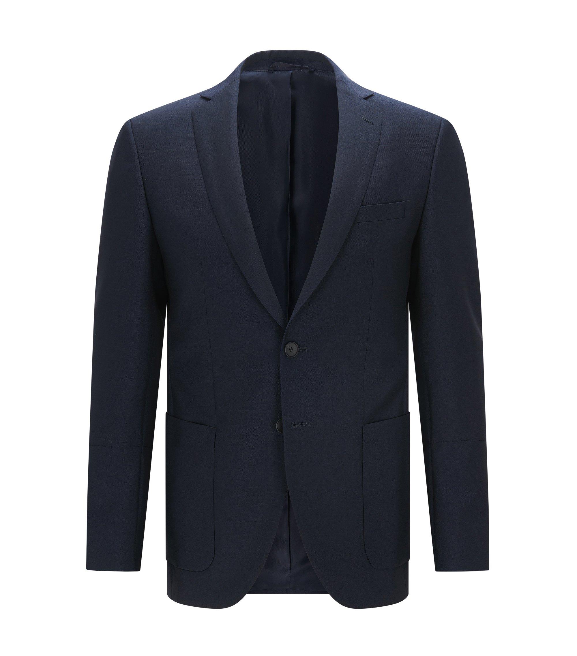 Blazer extra slim fit in lana e mohair, Blu scuro
