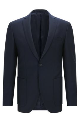 Blazer extra slim fit in lana e mohair, Blu scuro