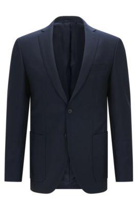 Blazer Extra Slim Fit en laine et mohair, Bleu foncé