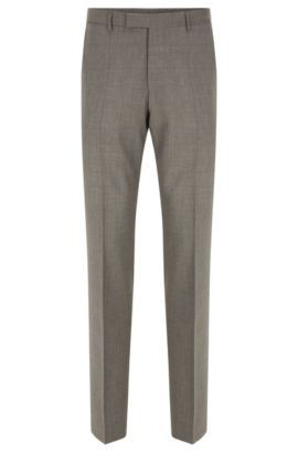 Regular-fit virgin wool trousers with added cashmere, Grey