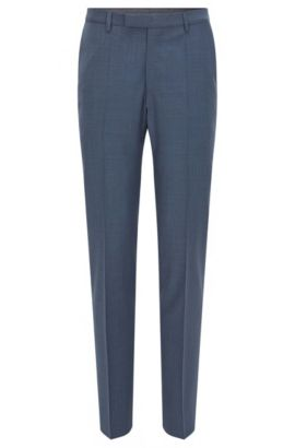 Pantaloni regular fit in lana con l'aggiunta di cashmere, Blu scuro