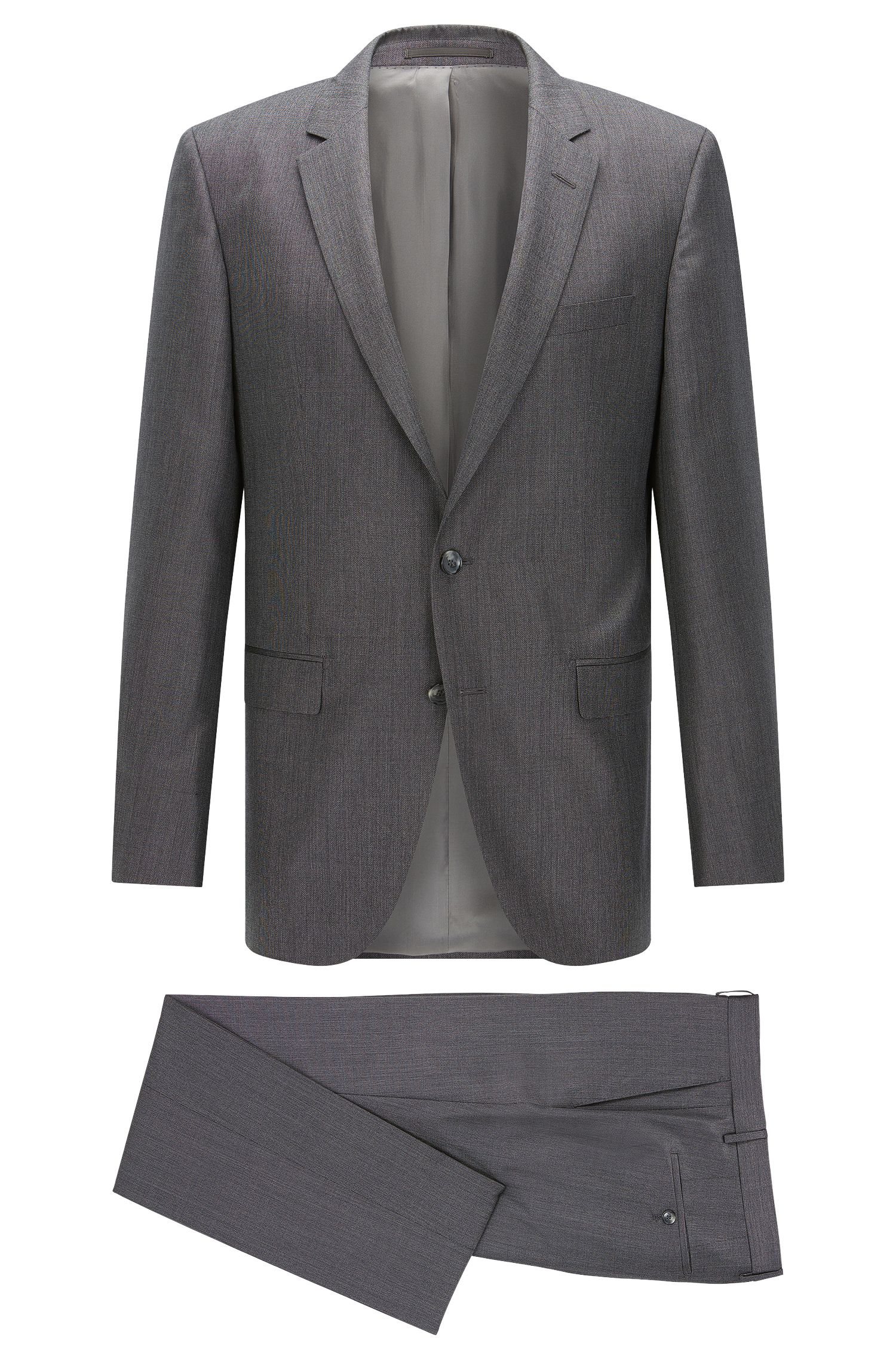 Slim-fit suit in pure silk