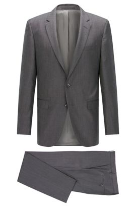 Slim-fit suit in pure silk , Open Grey