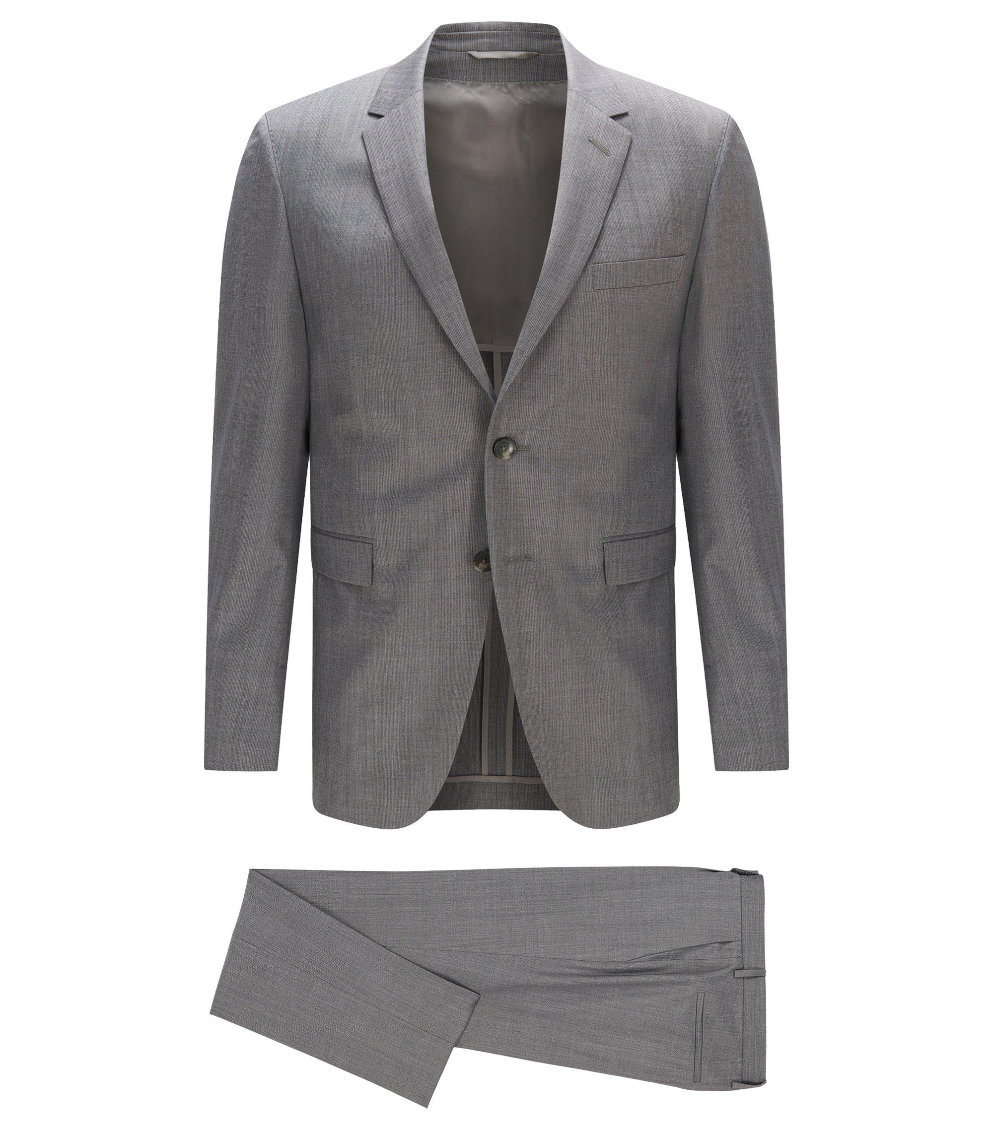 Slim-fit suit in Italian wool and silk , Grey