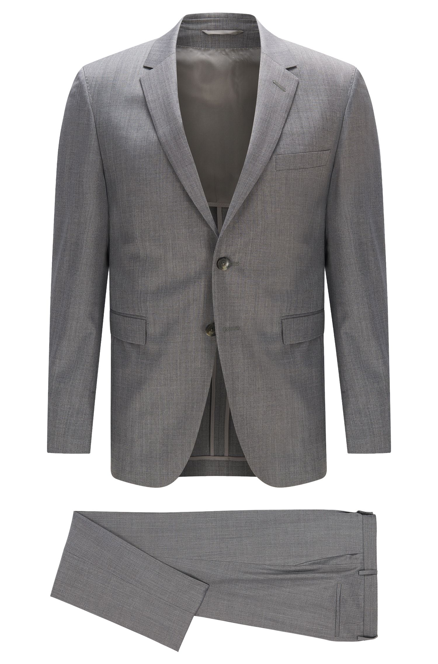 Slim-fit suit in Italian wool and silk