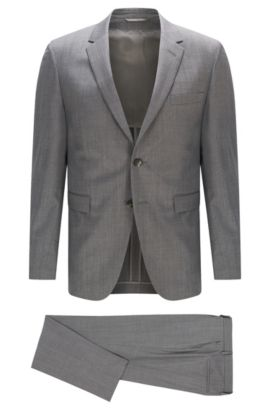 Slim-fit suit in Italian wool and silk , Grey