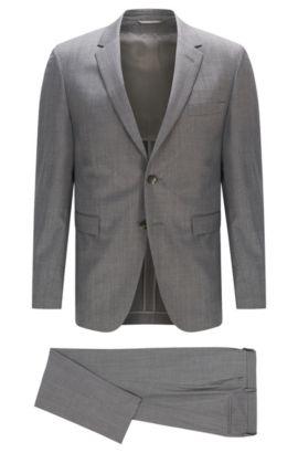 Slim-Fit Anzug aus italienischem Schurwoll-Mix mit Seide , Grau