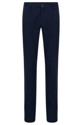 Chino slim fit in cotone elasticizzato lavato, Blu scuro