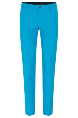 Slim-fit chinos in washed stretch cotton, Light Blue