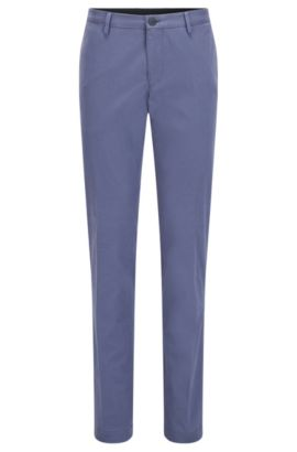 Slim-fit chinos in washed stretch cotton, Open Blue