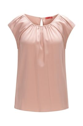 Top Regular Fit en soie stretch douce, Rose clair