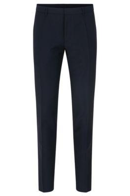 Extra slim-fit broek van scheerwol met mohair, Donkerblauw
