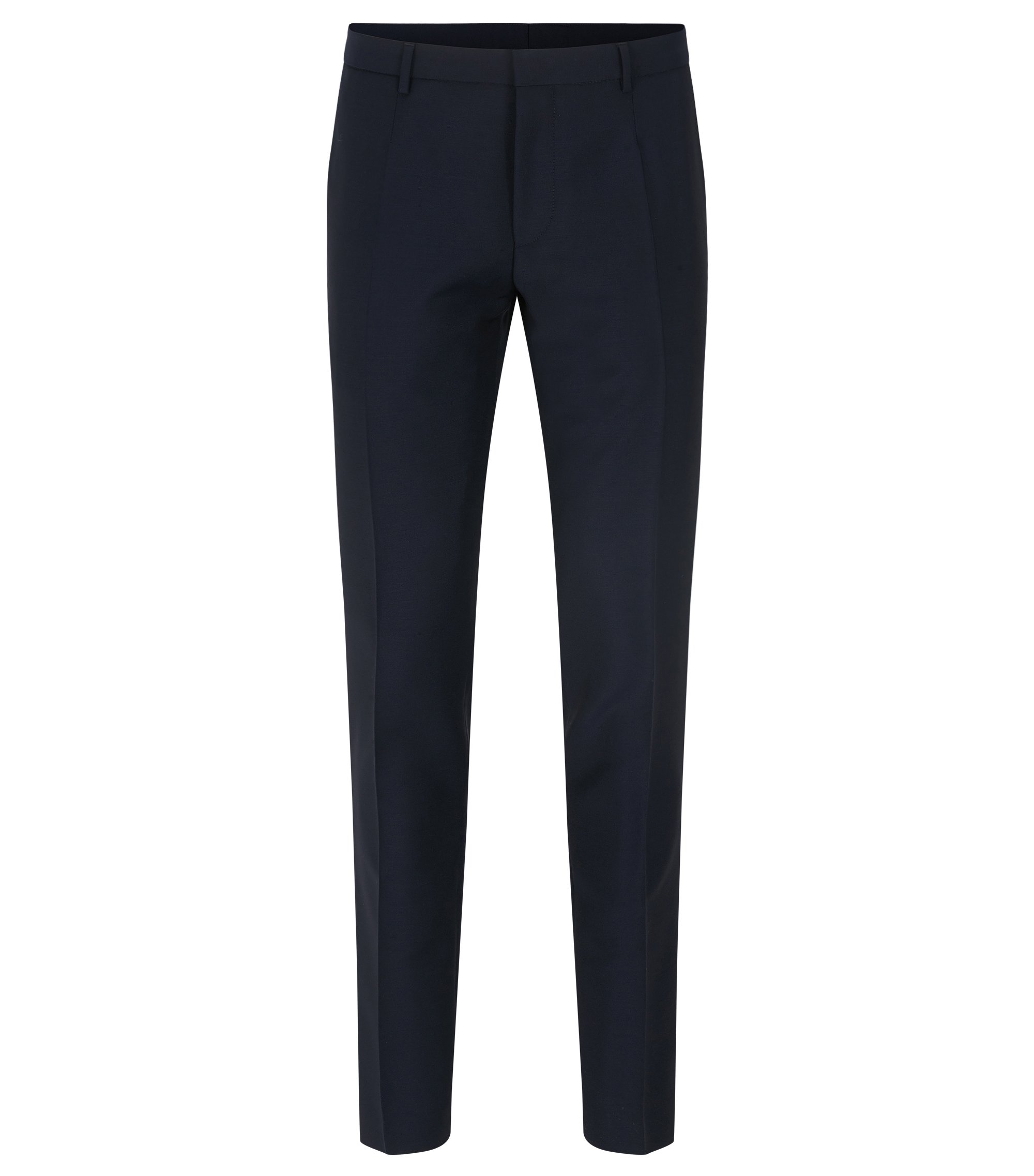 Extra-slim-fit virgin wool trousers with mohair, Dark Blue