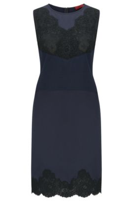 Relaxed-fit dress with floral lace detail, Dark Blue