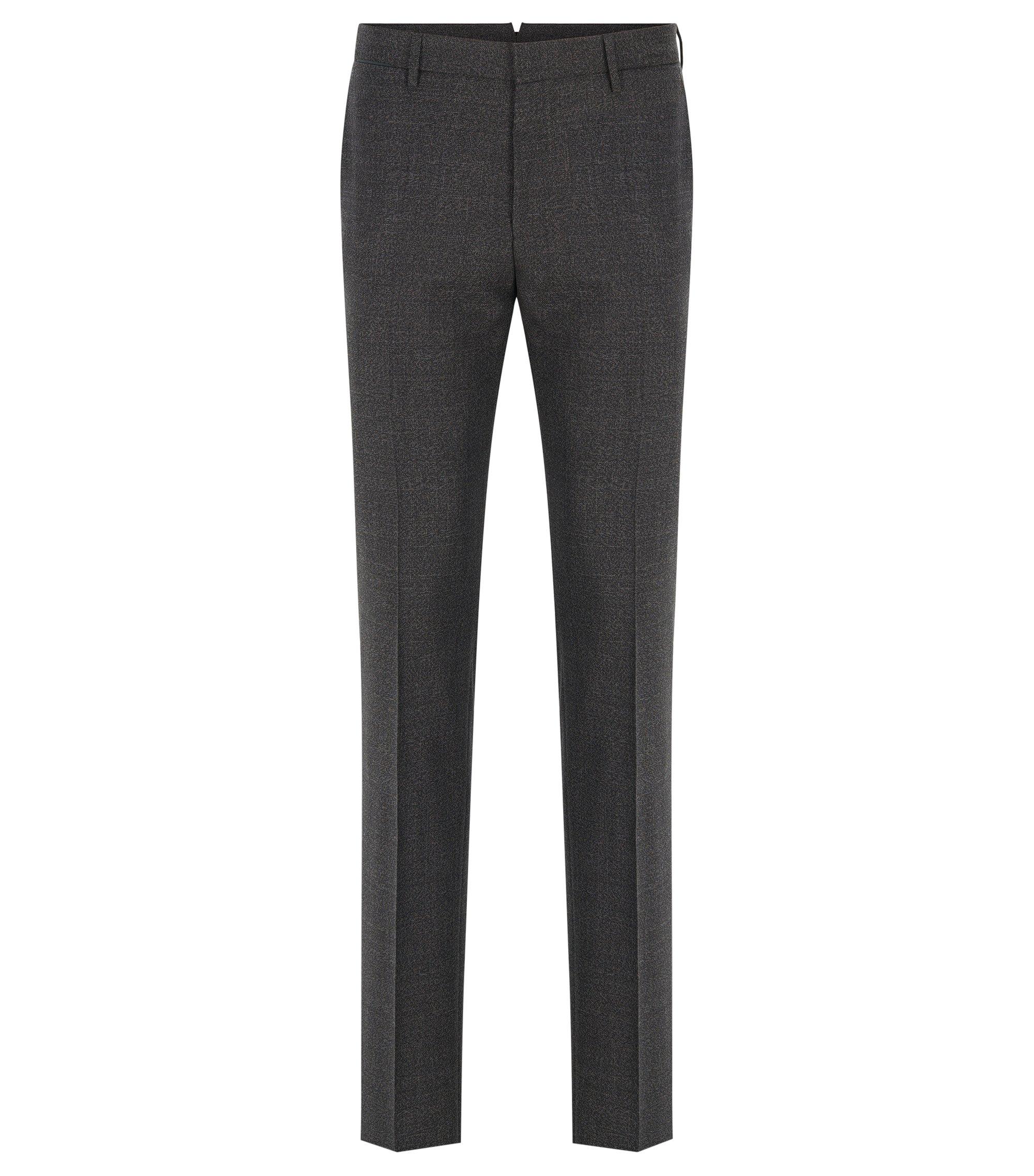 Pantalon Slim Fit en laine vierge moulinée. , Gris sombre