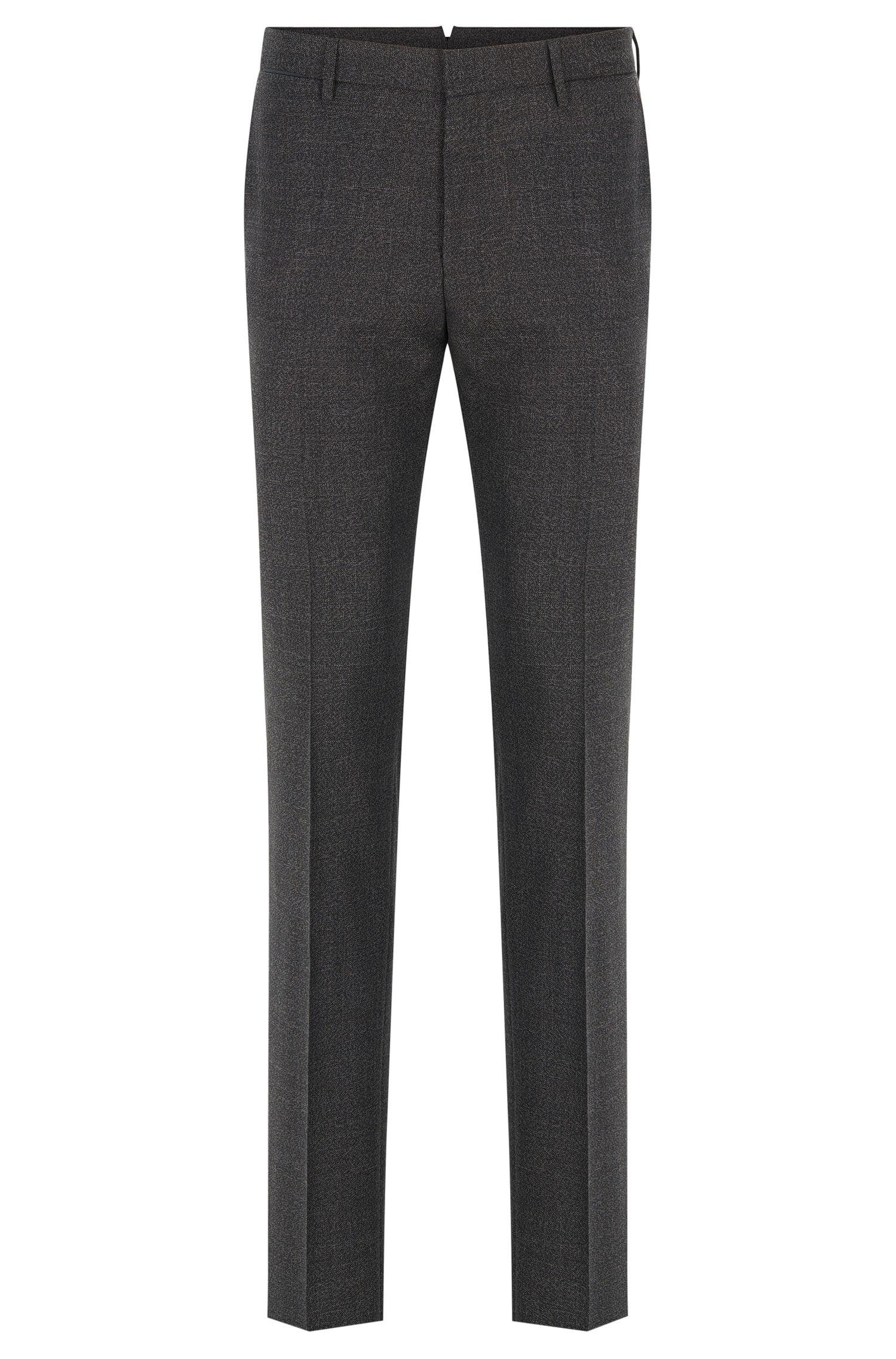 Pantaloni slim fit in lana vergine elasticizzata mouliné