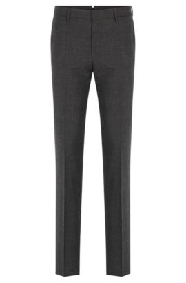 Mouliné slim-fit trousers in virgin wool , Dark Grey