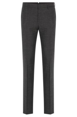 Pantalón slim fit de mouliné en lana virgen , Gris oscuro