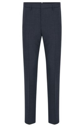 Mouliné slim-fit trousers in virgin wool , Dark Blue