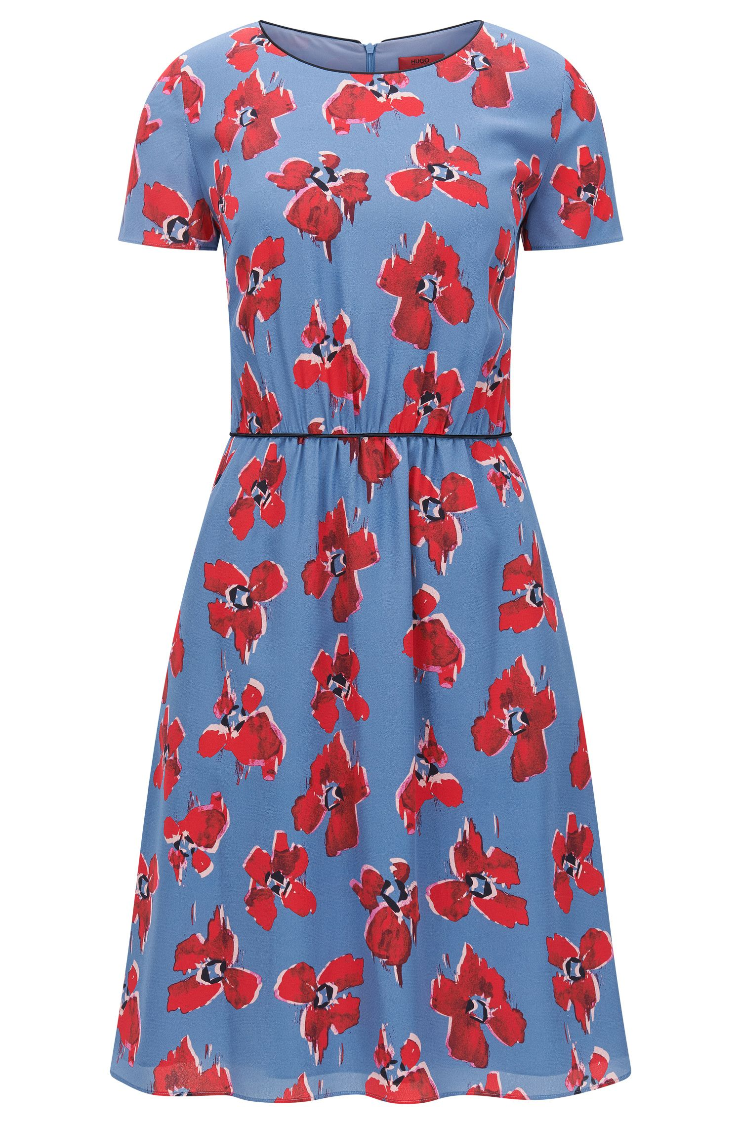 Regular-fit dress in silk with blurred floral print