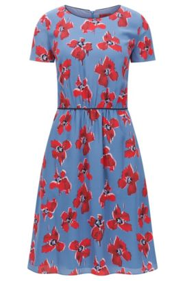 Regular-fit dress in silk with blurred floral print, Patterned