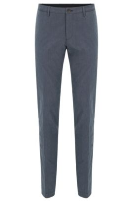 Slim-fit garment-washed chinos in end-on-end cotton, Blue