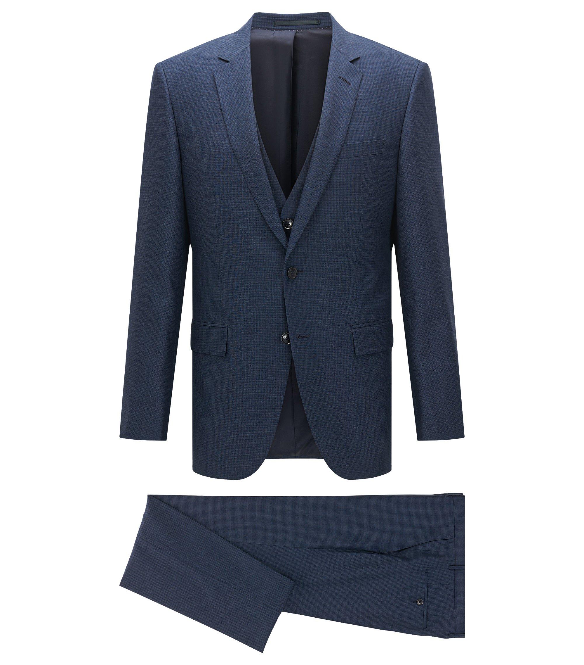 Slim-fit kostuum van scheerwol en zijde, Donkerblauw