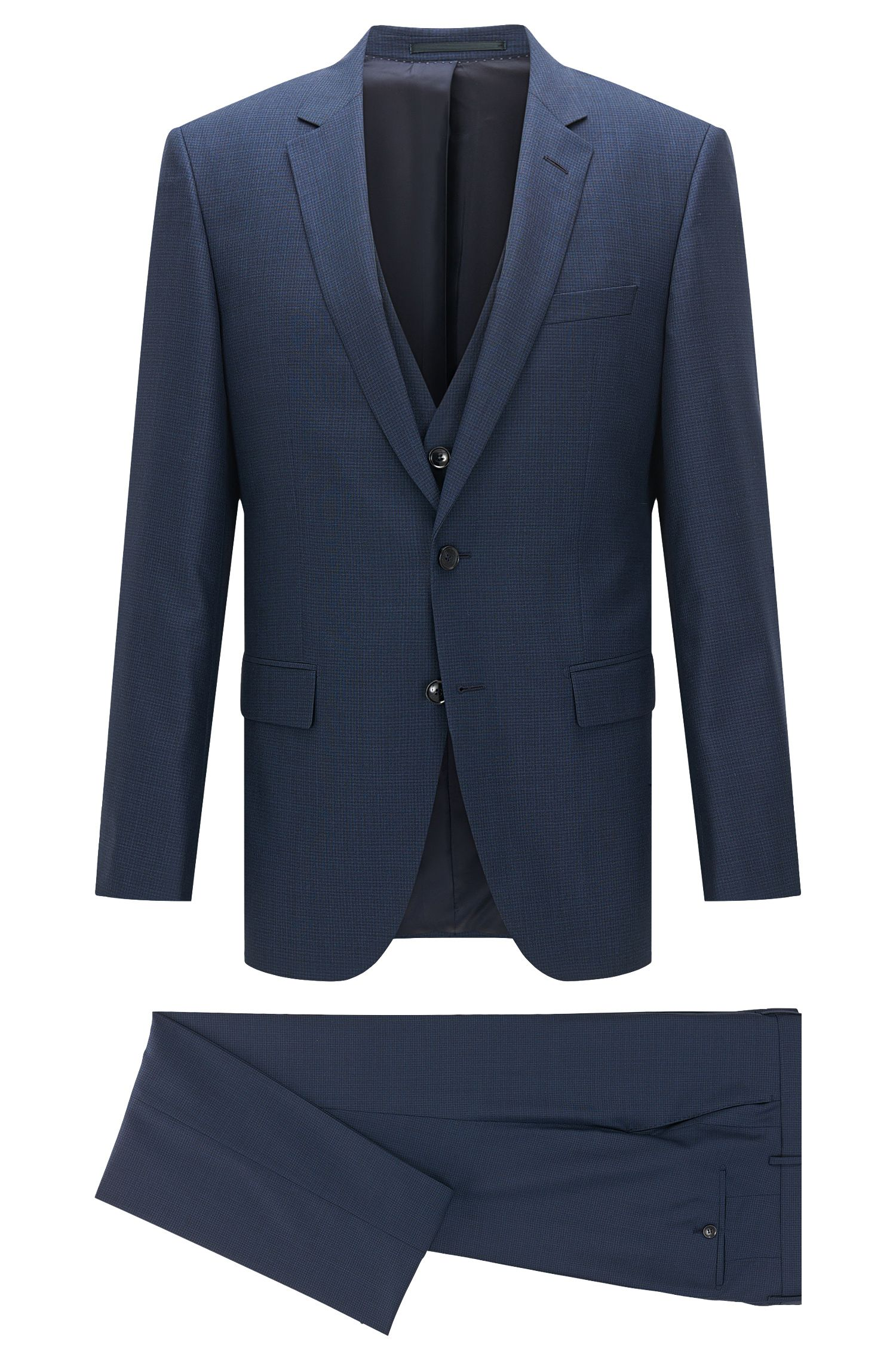 Slim-fit suit in virgin wool and silk