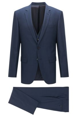 Abito slim fit in lana vergine con seta, Blu scuro