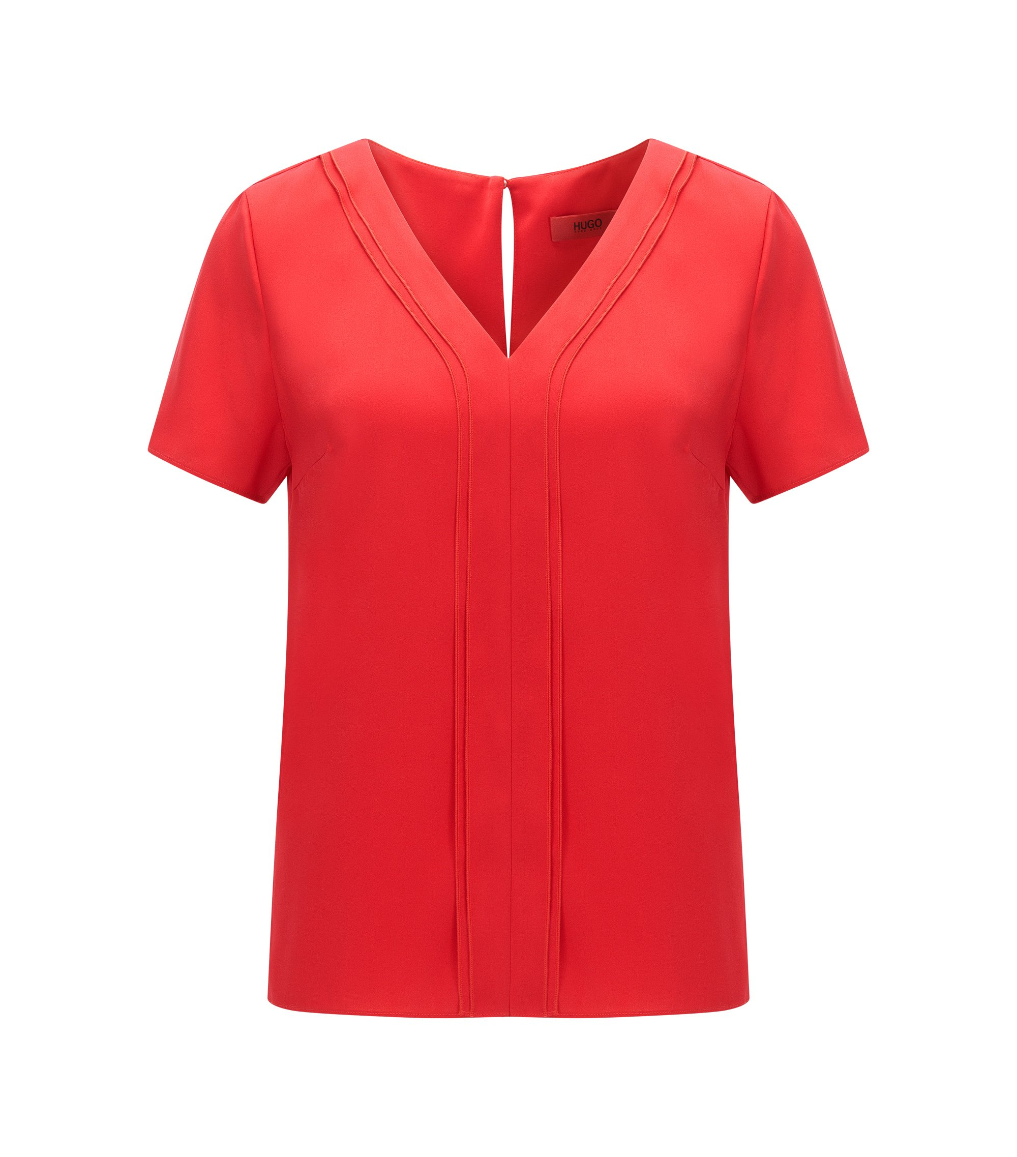 Top Regular Fit à col V en soie stretch, Rouge