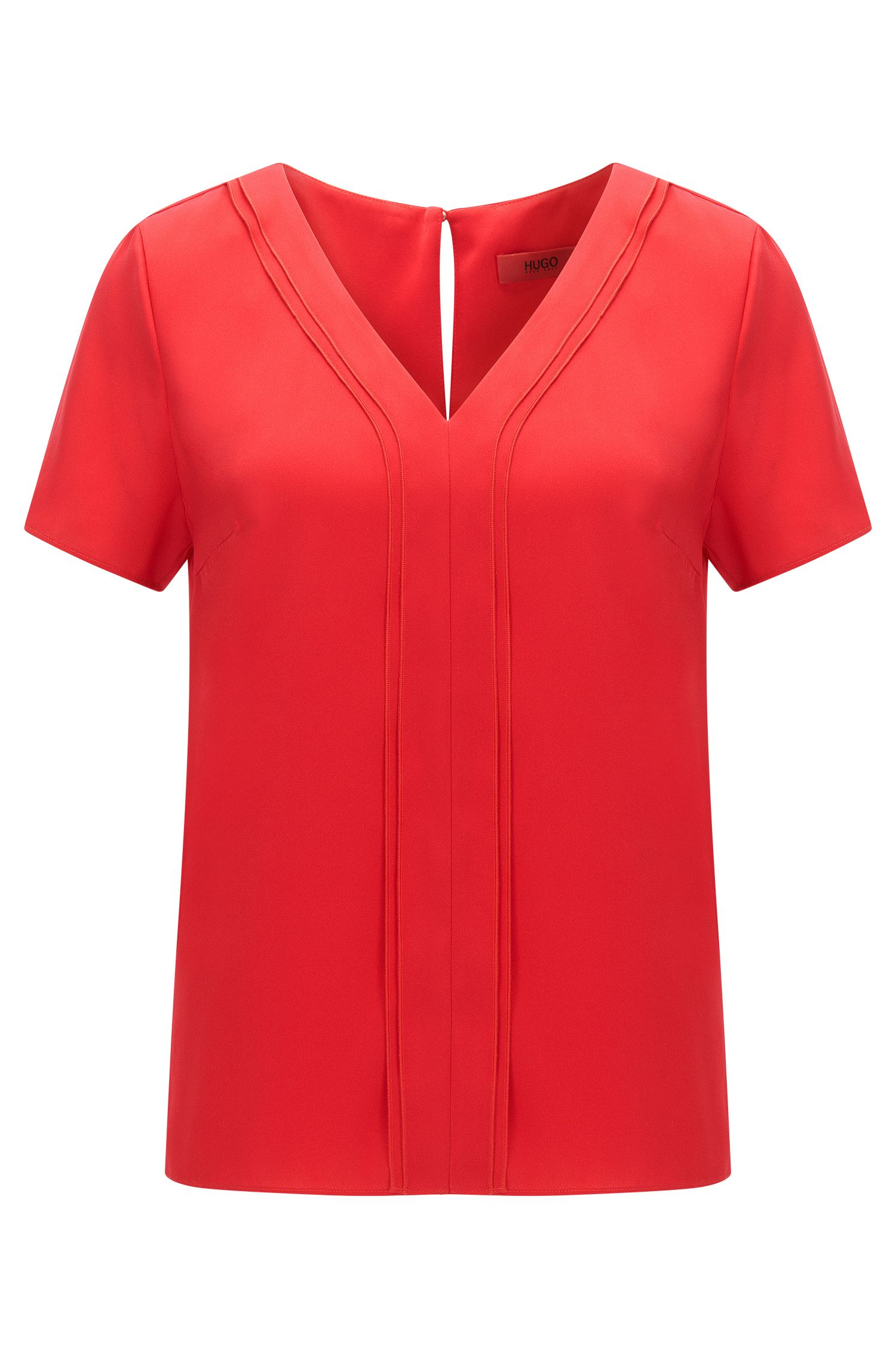 Regular-fit V-neck top in stretch silk