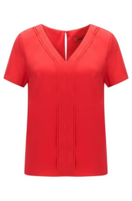 Top regular fit con scollo a V in seta elastica, Rosso