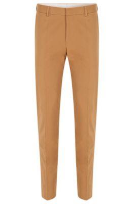 Slim-fit trousers in stretch cotton, Beige