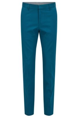 Slim-fit trousers in stretch cotton, Turquoise