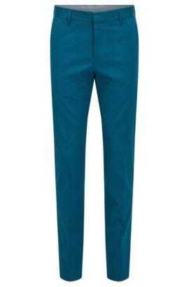 Pantaloni slim fit in cotone elasticizzato, Turchese