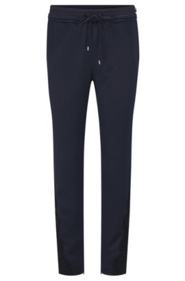 Relaxed-fit jogging trousers with ruffle waistband, Dark Blue