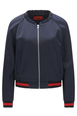 Relaxed-fit bomber jacket with statement embroidery, Dark Blue