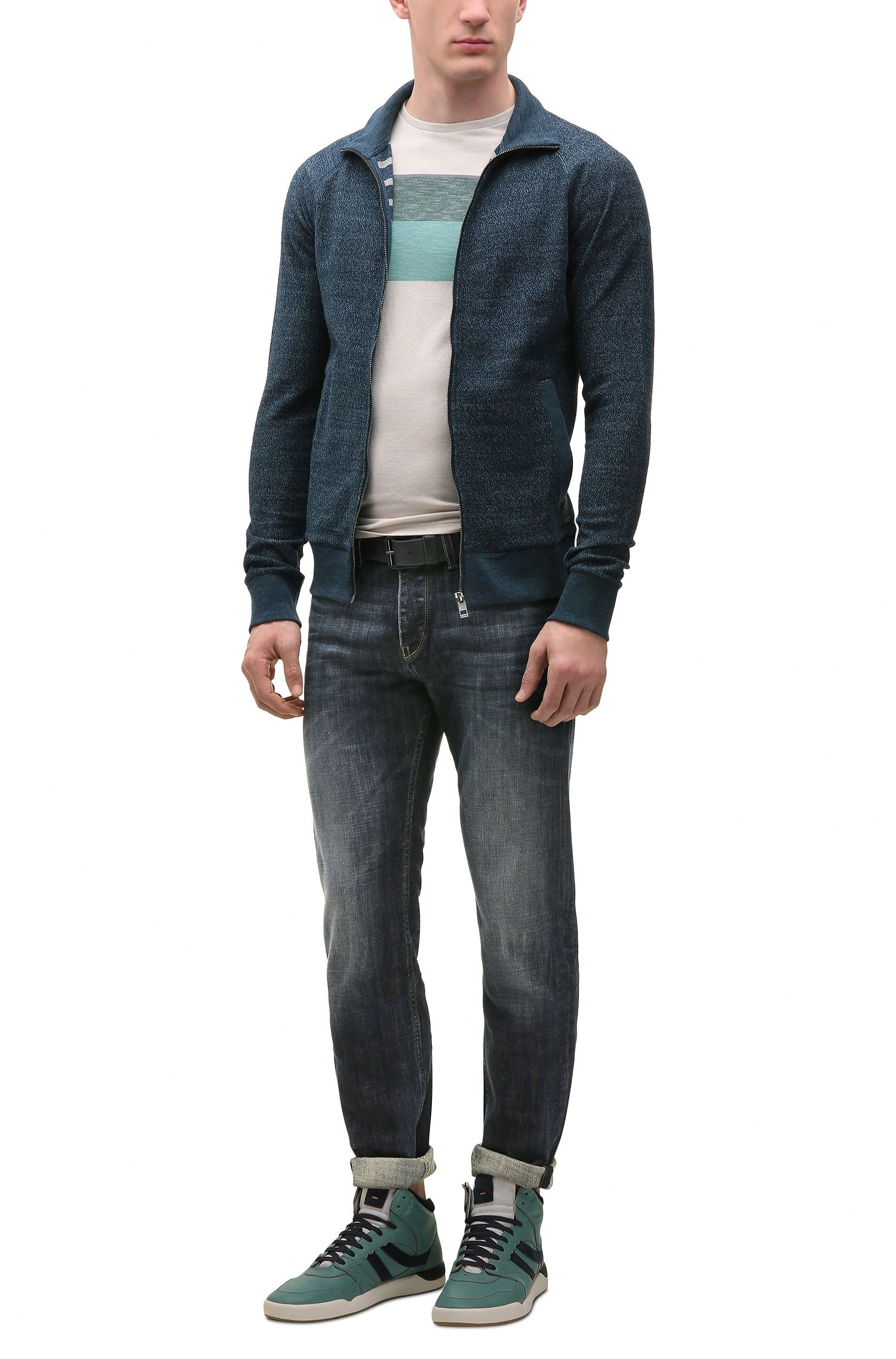 Jeans tapered fit in denim elasticizzato compatto, Blu scuro